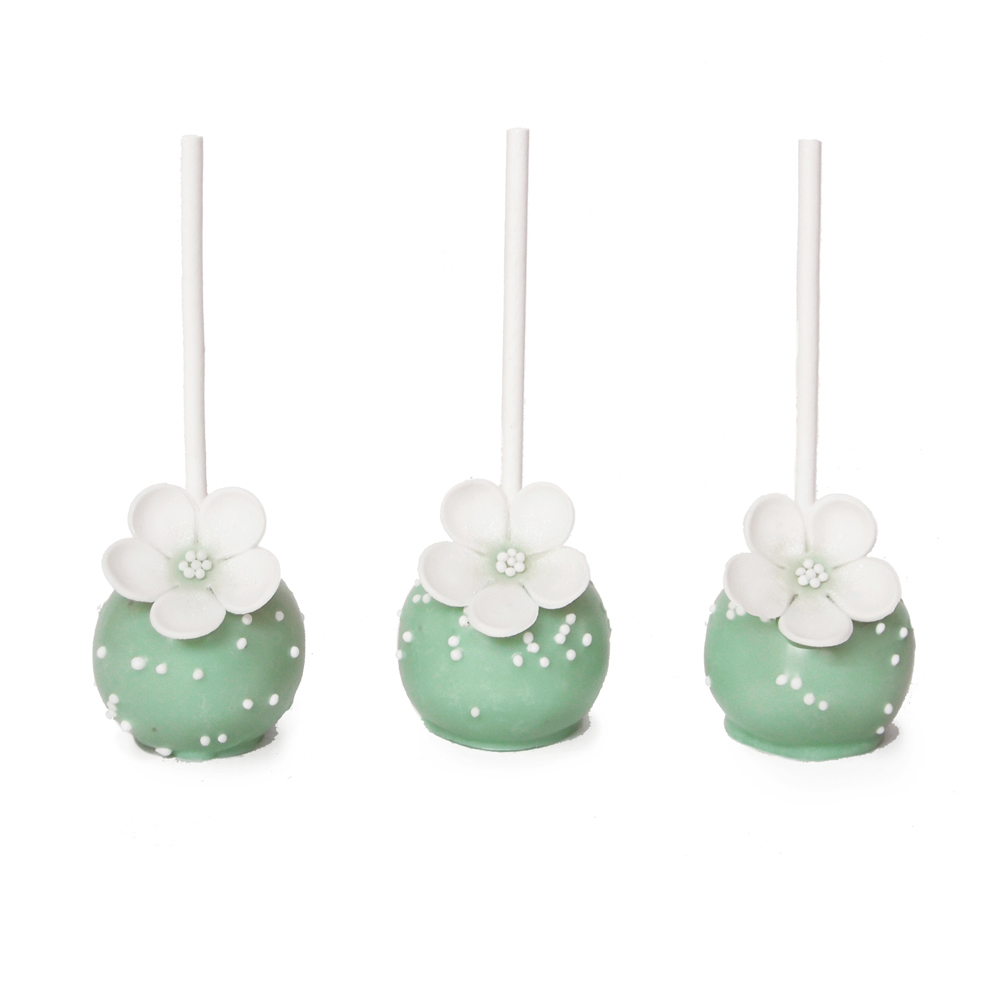 Mint Green Cake Pops with White Flower