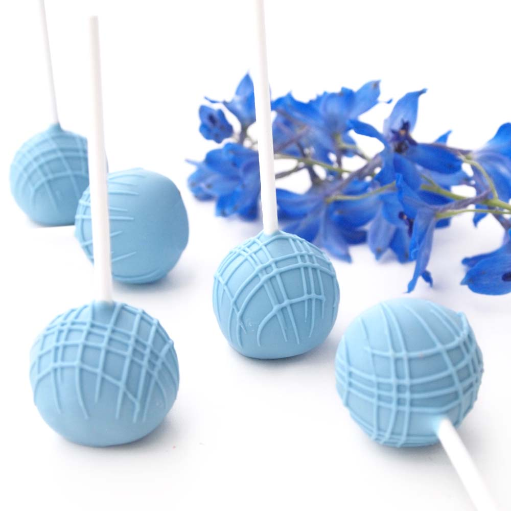 Blue Birthday Cake Pops with Stripes