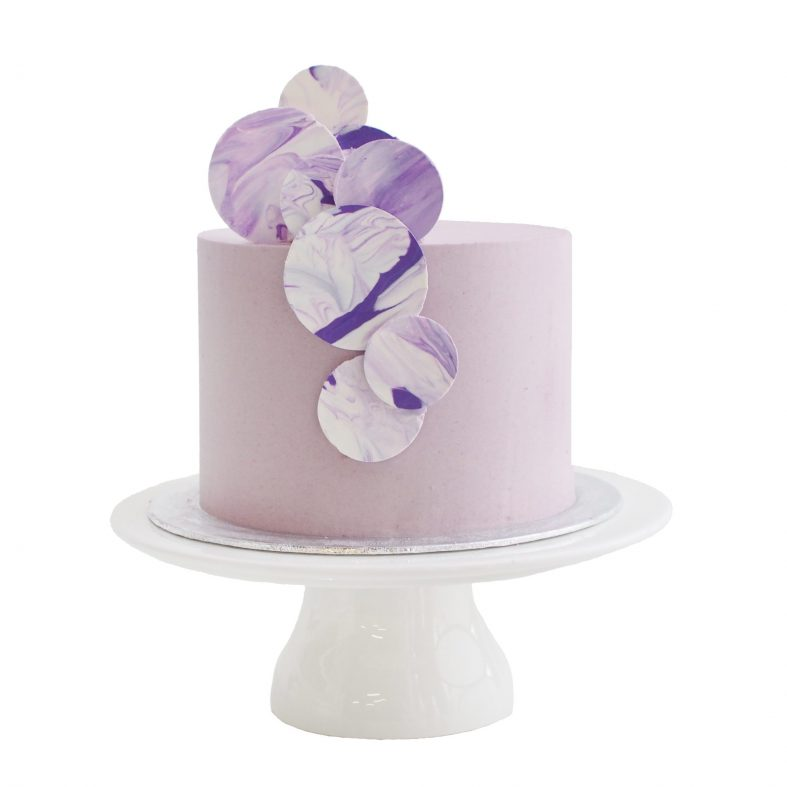Modern Purple Marble Birthday Cake