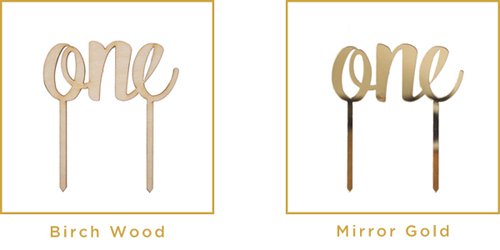 Hout & Goud Cake Toppers